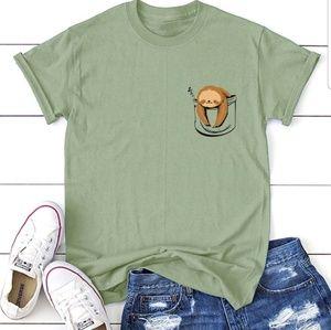 Tops - Green Tee with Sleepy Sloth